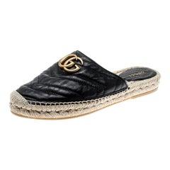 Gucci Black Chevron Quilt Leather Double G Flat Espadrilles Slides Size 37.5