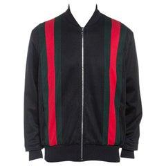 Gucci Black Classic Web Striped Jersey Technical Bomber Jacket XL