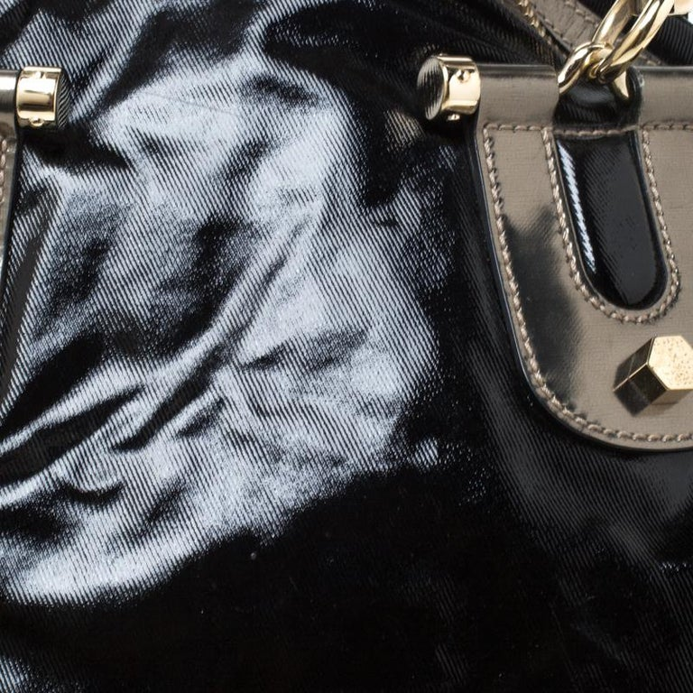 Gucci Black Coated Canvas and Leather Pop Bamboo Satchel For Sale 6