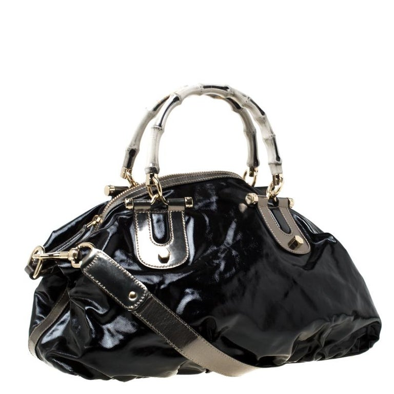 Women's Gucci Black Coated Canvas and Leather Pop Bamboo Satchel For Sale