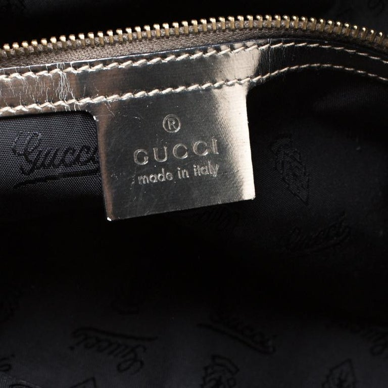 Gucci Black Coated Canvas and Leather Pop Bamboo Satchel For Sale 1