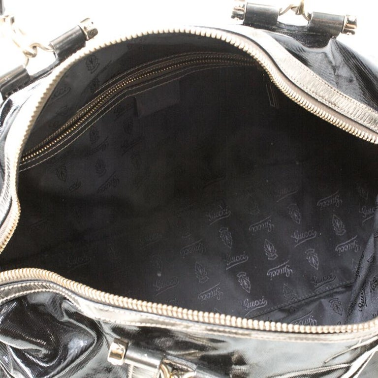 Gucci Black Coated Canvas and Leather Pop Bamboo Satchel For Sale 2