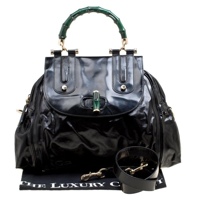 Gucci Black Coated Nylon and Leather Dialux Pop Bamboo Top Handle Bag For Sale 8
