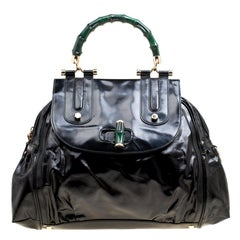 Gucci Black Coated Nylon and Leather Dialux Pop Bamboo Top Handle Bag