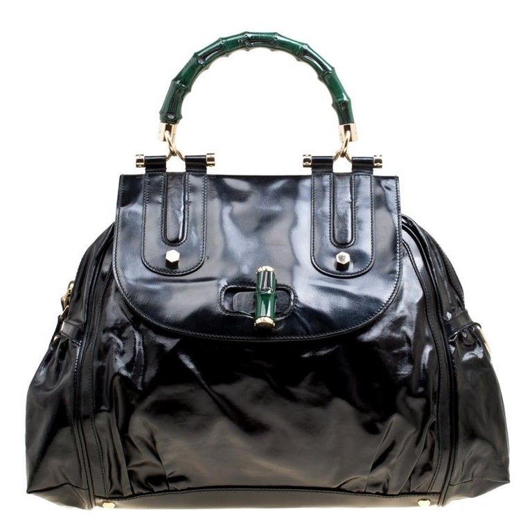 Gucci Black Coated Nylon and Leather Dialux Pop Bamboo Top Handle Bag For Sale