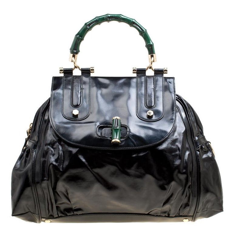 7c88d7023 Gucci Black Coated Nylon and Leather Dialux Pop Bamboo Top Handle Bag For  Sale