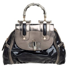Gucci Black Coated Nylon and Patent Leather Dialux Pop Bamboo Top Handle Bag