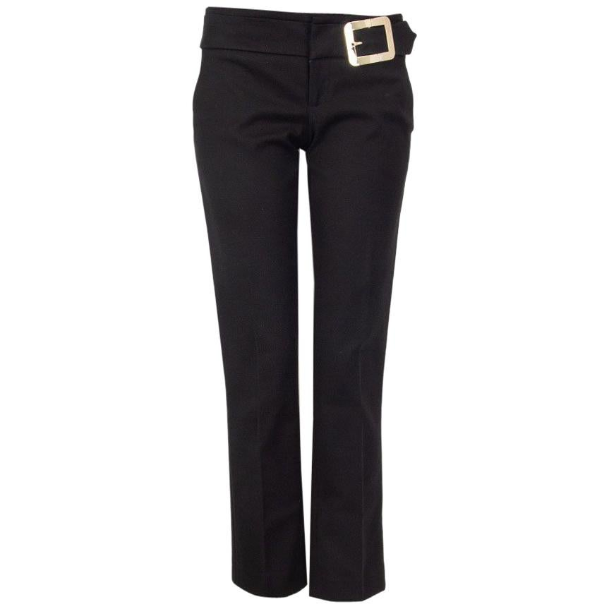 GUCCI black cotton BUCKLE Tapered Leg Pants 40 S