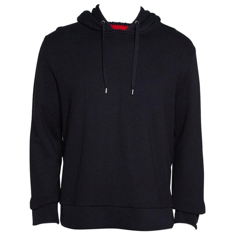 Gucci Black Cotton Jersey Web Detail Hooded Sweatshirt L For Sale