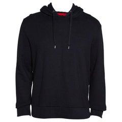 Gucci Black Cotton Jersey Web Detail Hooded Sweatshirt L