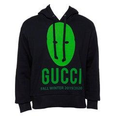 Gucci Black Cotton Manifesto Printed Oversized Hoodie XS