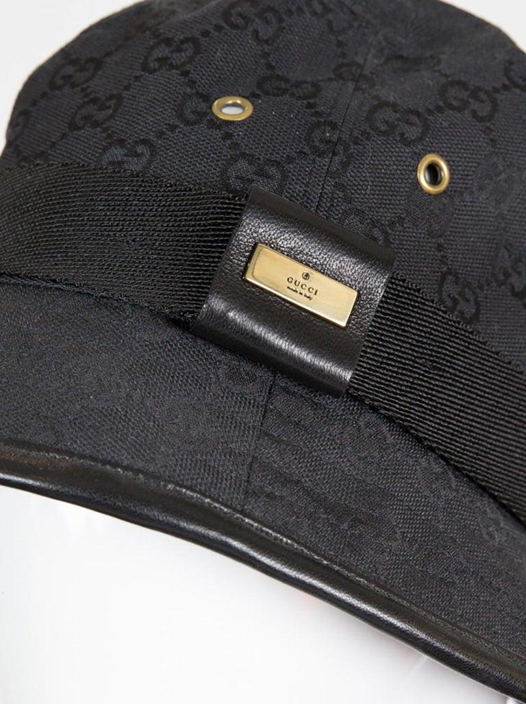 Gucci Black Cotton Monogram Bucket Hat In Good Condition For Sale In Paris, FR