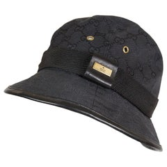 Gucci Black Cotton Monogram Bucket Hat