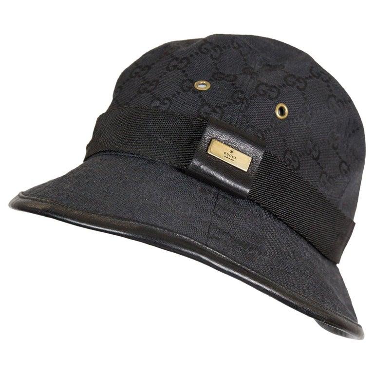 Gucci Black Cotton Monogram Bucket Hat For Sale