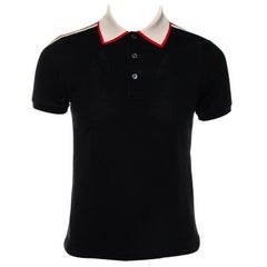 Gucci Black Cotton Pique Contrast Collar Web Trim Detail Polo Shirt S