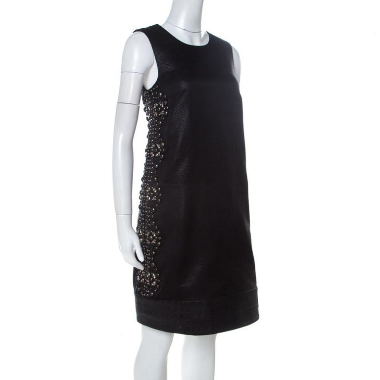 Gucci Black Cotton Silk Blend Embellished Sleeveless Dress S In Good Condition For Sale In Dubai, Al Qouz 2