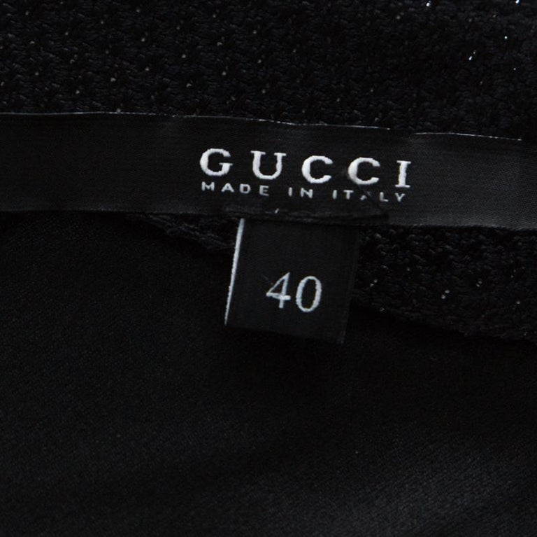 Gucci Black Cotton Silk Blend Embellished Sleeveless Dress S For Sale 1