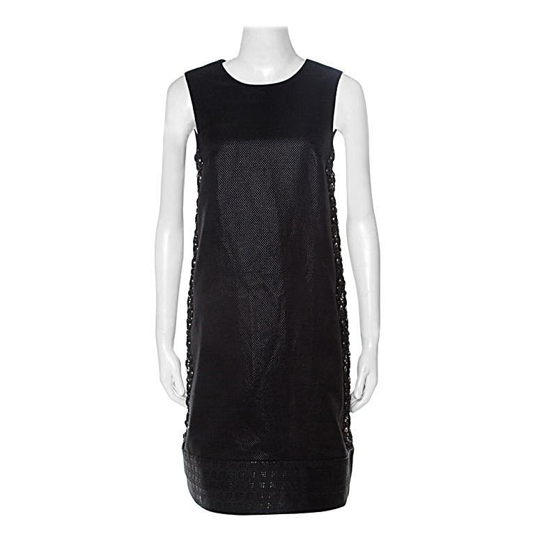 Gucci Black Cotton Silk Blend Embellished Sleeveless Dress S For Sale