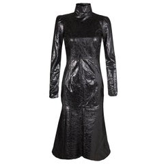 Gucci Black Crackled Patent Leather Cut Out Back Detail Long Sleeve Dress S