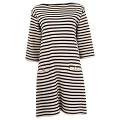 GUCCI black cream wool STRIPED TRICOT POUR BIARRITZ KNIT Dress M