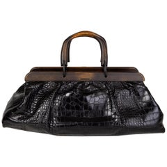 GUCCI black CROCODILE WOODEN HANDLE DOCTOR Bag