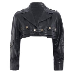 Gucci Black Cropped Leather Jacket S