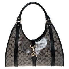 Gucci Black Crystal Canvas and Leather Bardot Joy Tote