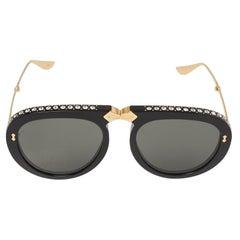 Gucci Black Crystal Studded / Grey GG0307S Foldable Pilot Sunglasses