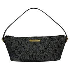 Gucci Black Denim Monogram Pochette Bag