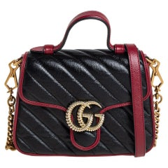Gucci Black Diagonal Quilt Leather Mini GG Marmont Top Handle Bag