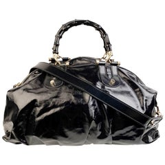 Gucci Black Dialux Canvas Pop Bamboo Handbag Satchel Bag with Strap