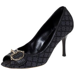 Gucci Black Diamante Canvas & Leather Trim Icon Bit Platform Peep Toe Pump 38