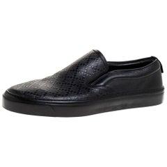 Gucci Black Diamante Leather Slip On Sneakers Size 40