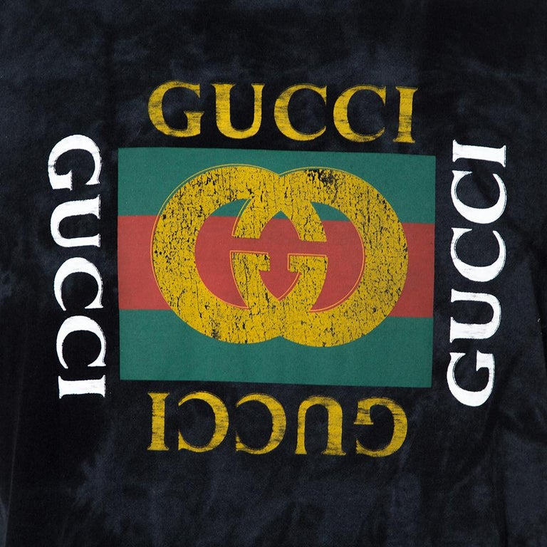 Men's Gucci Black Distressed Cotton Loved Stud Embellished Logo Jersey T Shirt S