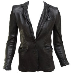 Gucci Black Distressed Leather Blazer