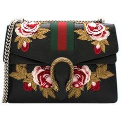 Gucci Black Embroidered Dionysus Leather Shoulder Bag