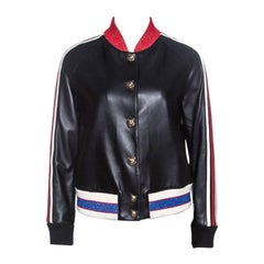 Gucci Black Embroidered Leather Web Detail Bomber Jacket M