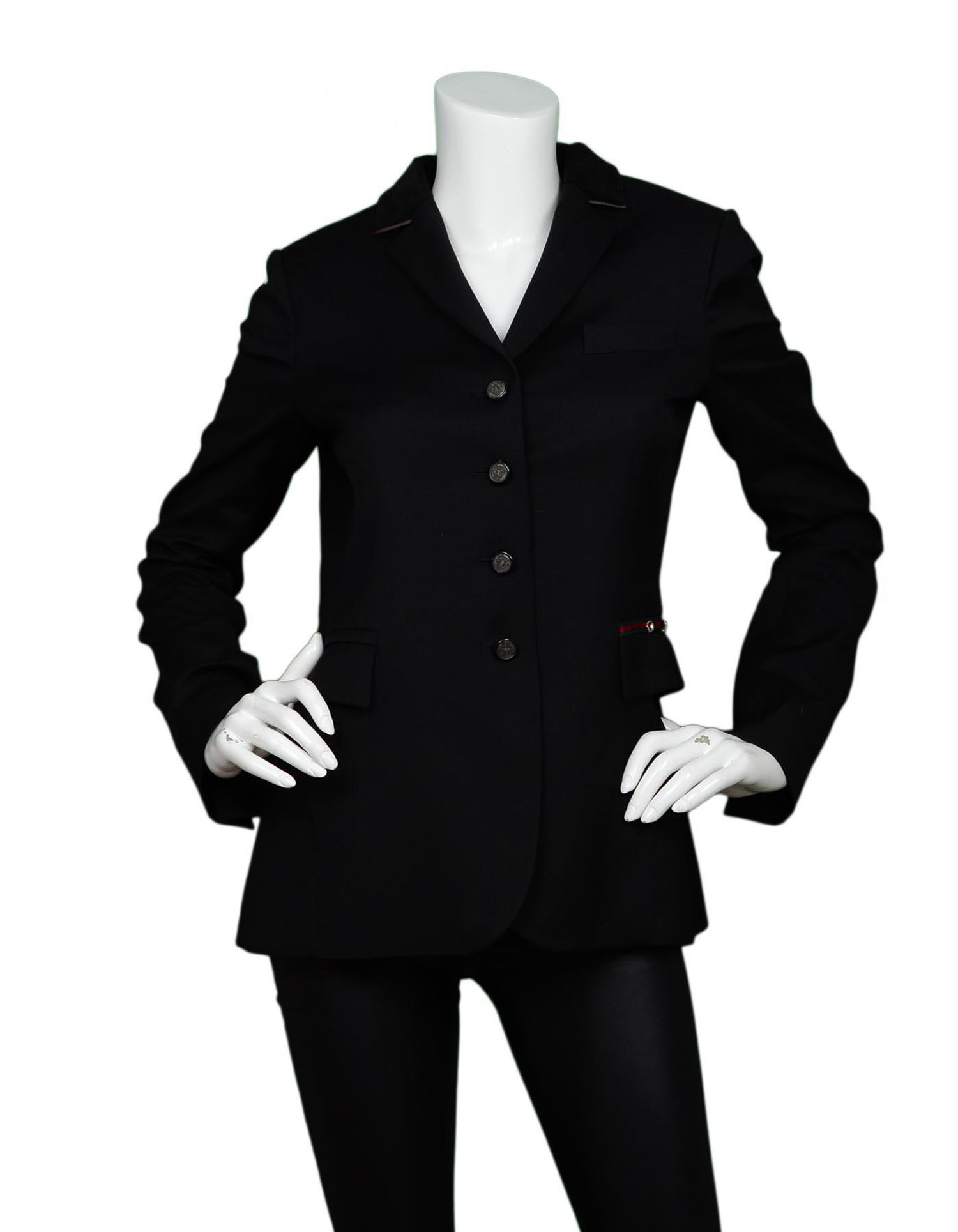 ee5463f53 Gucci Black Equestrian Riding Jacket W/ Velvet and Web Trim Sz 42 For Sale  at 1stdibs