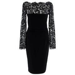 Gucci Black Eyelash Lace Trimmed Fitted Dress S