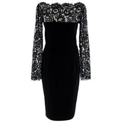 Gucci Black Eyelash Lace Trimmed Fitted Dress - Size Small