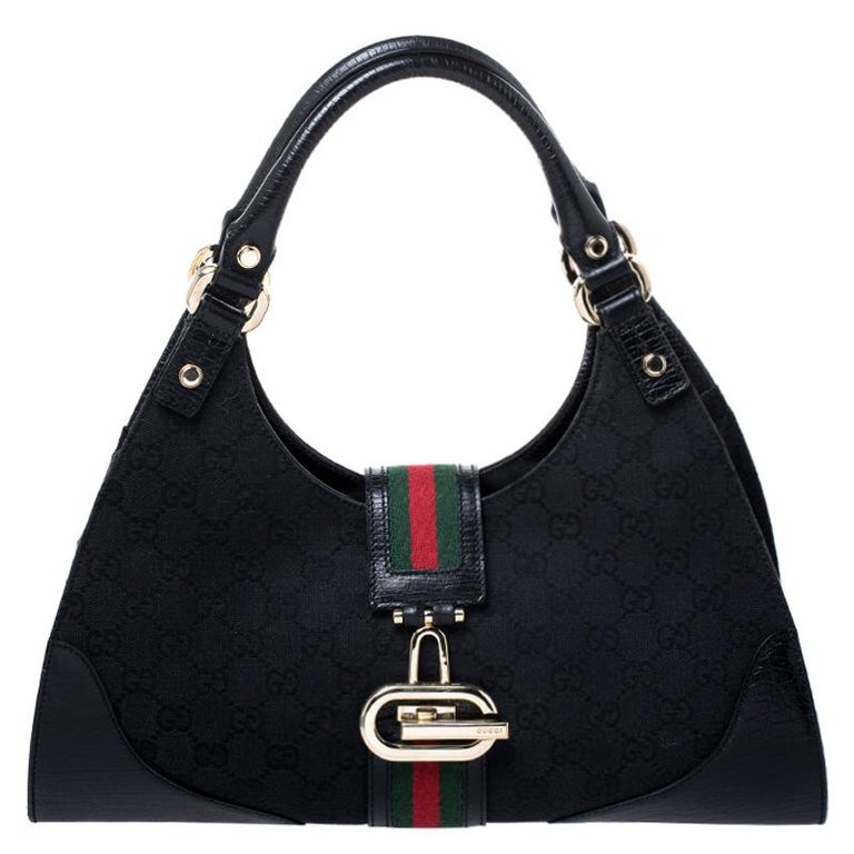 Gucci Black Fabric And Leather GG Supreme Web Hobo For Sale 7