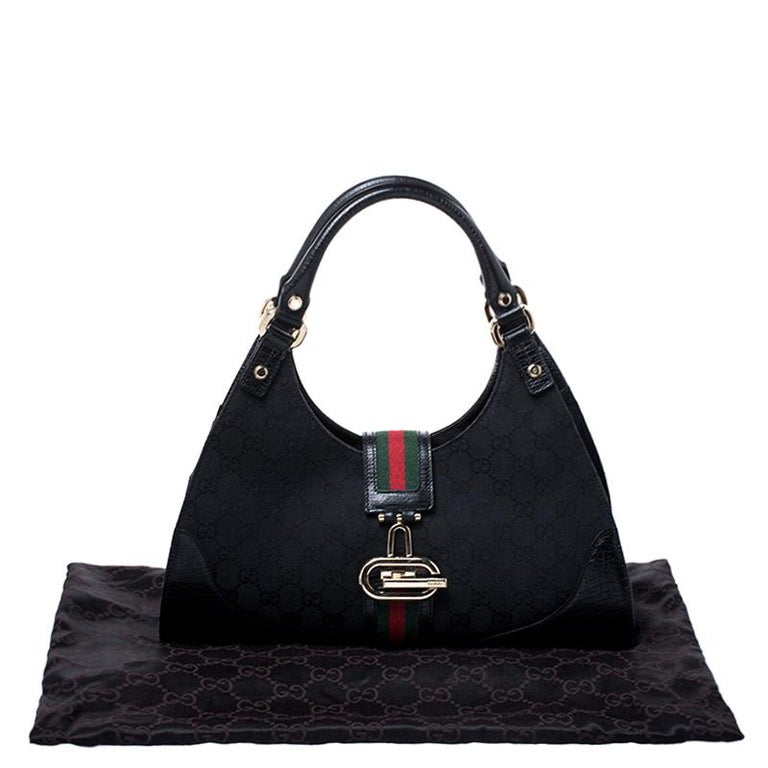 Gucci Black Fabric And Leather GG Supreme Web Hobo For Sale 8