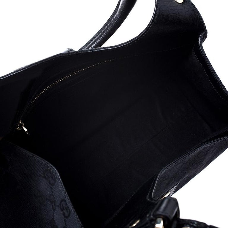 Gucci Black Fabric And Leather GG Supreme Web Hobo For Sale 1