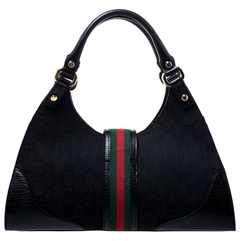 Gucci Black Fabric And Leather GG Supreme Web Hobo For Sale