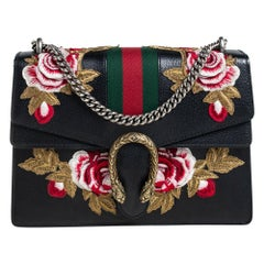 Gucci Black Floral Embroidered Leather Dionysus Shoulder Bag
