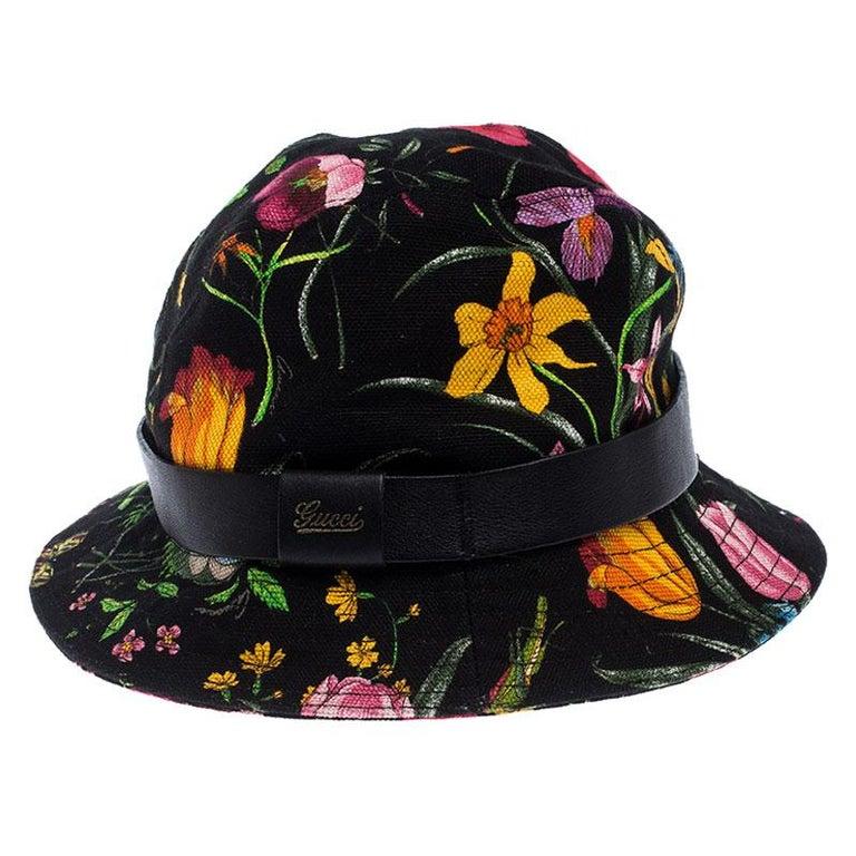 Women's Gucci Black Floral Print Bucket Hat S For Sale
