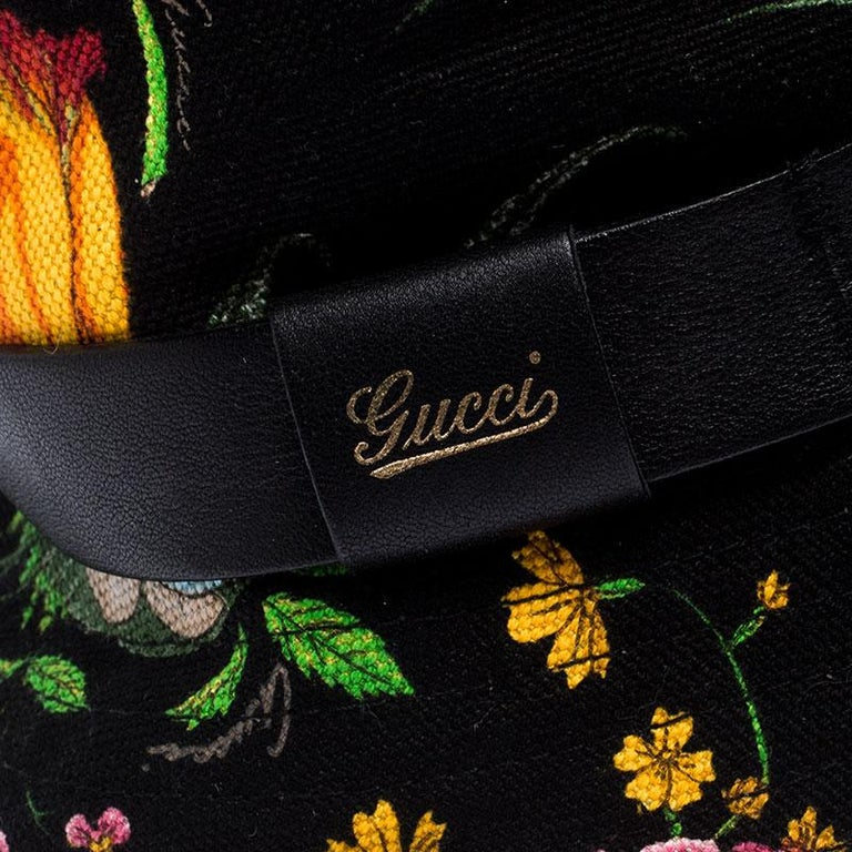 Gucci Black Floral Print Bucket Hat S For Sale 1