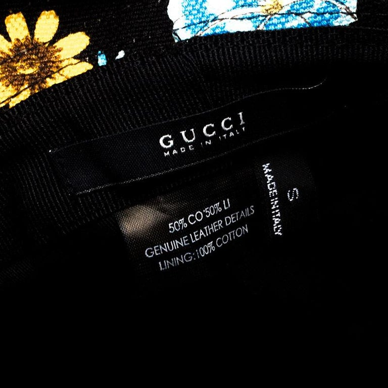 Gucci Black Floral Print Bucket Hat S For Sale 2