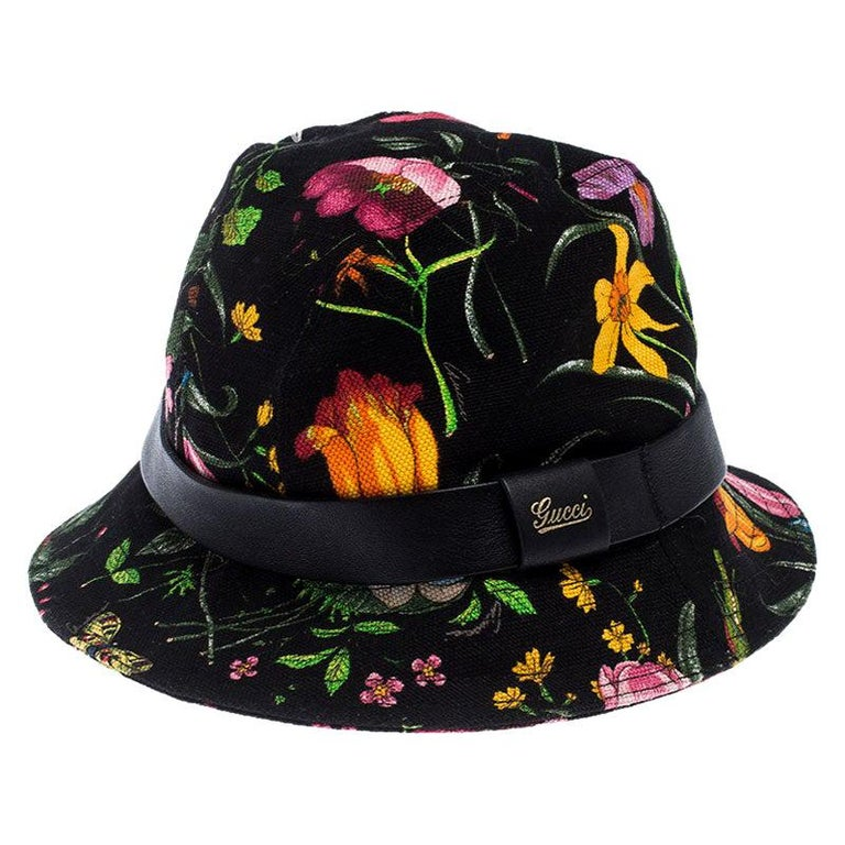 Gucci Black Floral Print Bucket Hat S For Sale