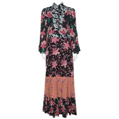 Gucci Black Floral Print Crepe Flared Maxi Dress M